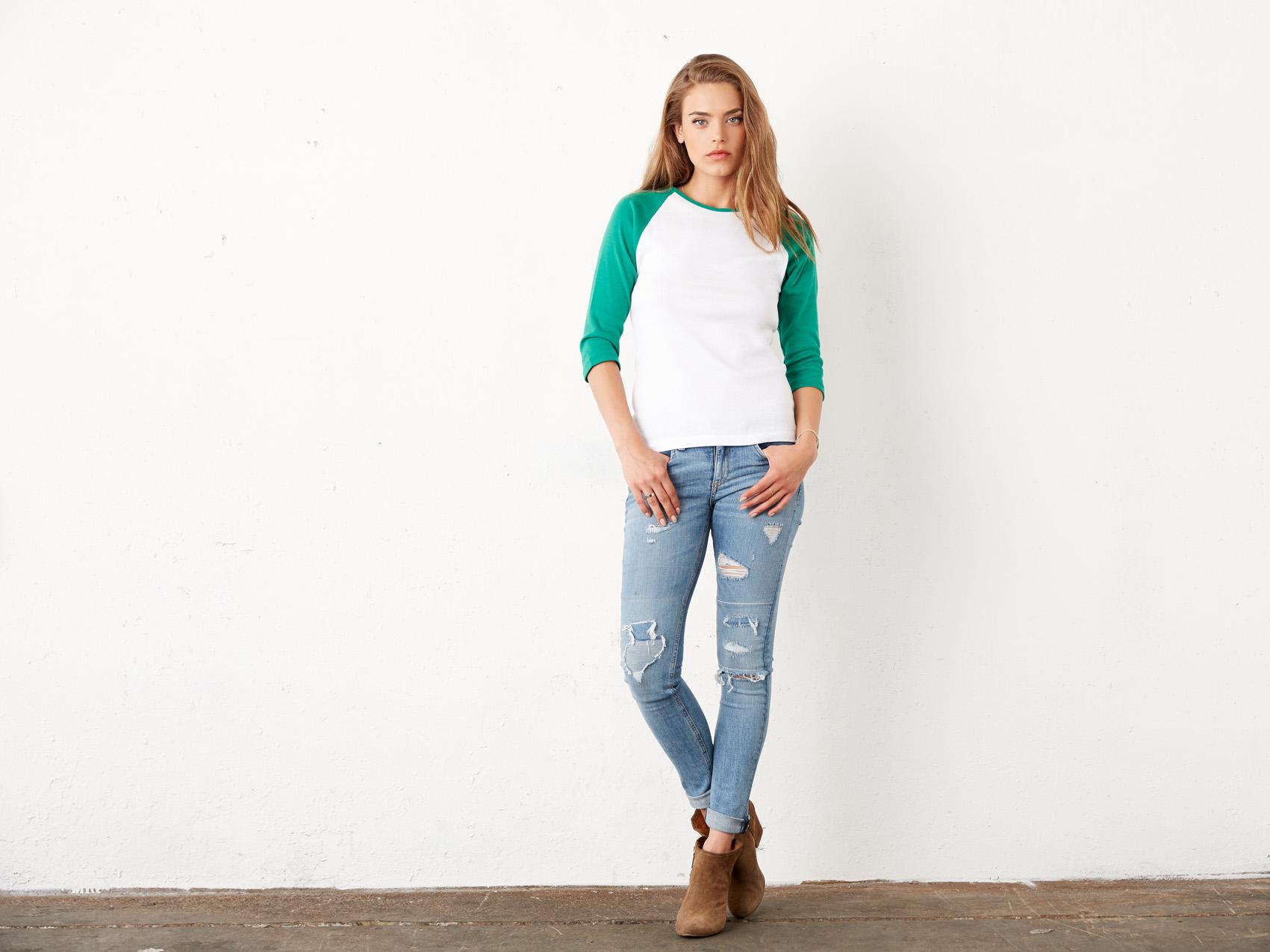 Bel+Can T-shirt Raglan 3/4 Sleeve