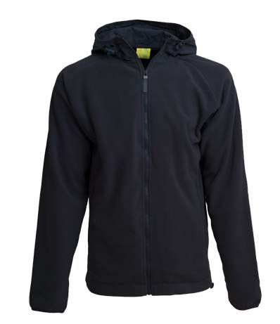 L&S Polar Fleece Nylon Hooded Cardigan